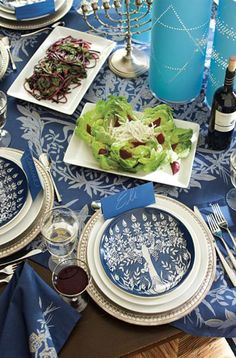 Some gorgeous #Hanukkah place settings! #potterybarn #tablescape