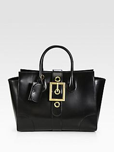 Lady Buckle Leather Top Handle Bag