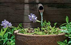 O painel de madeira de demolição com uma fonte dá charme ao jardim. A flor de aguapé deixa o visual mais charmoso