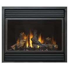 """Continental 37.5-in Direct Vent Black Corner or Wall-Mount Natural Gas Fireplace $1,701 L owes 14"""" deep assembled"""