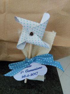 Pinwhell calamita sacchettini porta confetti in lino Prima comunione