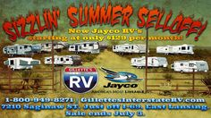 At Gillettes' Interstate RV's Sizzlin' Summer Selloff, the deals are hotter than a chili pepper in a fryin' pan!     Hitch up the team to one of them fancy new Jayco covered wagons...startin' at only $129 per month! We're talkin' massive inventory reeeeeee-duction and ginormous discounts! Everythang's gotta go!     Y'all rustle up the young'uns and giddy on up to the Sizzlin' Summer Selloff! Gillettes Interstate RV dot com, Saginaw Highway just off I-69, East Lansing. Sale ends July 3. Rv Videos, East Lansing, Covered Wagon, Chili, Pepper, Fancy, Youtube, Summer, Summer Time
