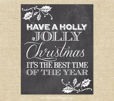 Holly+Jolly+Christmas+Chalkboard+Poster+Print++by+BethHartDesigns,+$28.00