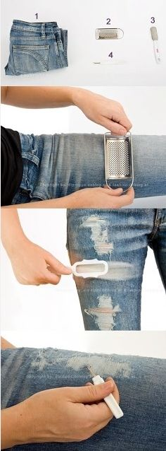 DIY designer jeans- SO trying this. Finally found a type that fits my body well- but they're so boring! #rippedjeansdiyeasy