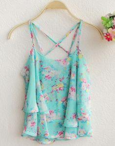 Blue Spaghetti Strap Floral Pattern Vest