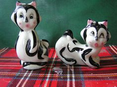 Vintage Black and White Cats Salt and Pepper