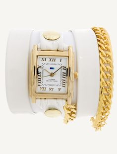 GOLD SQUARE CASE - WHITE PATENT LEATHER GOLD RIVETS SINGLE GOLD GLAM CHAIN