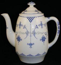 Superb antique 1900s Furnivals blue porcelain Teapot