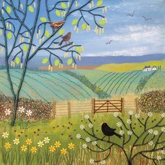 Canvas print of English countryside in spring with blackbirds from an original mixed media painting 'Thoughts of Spring' by Jo Grundy Mixed Media Painting, Mixed Media Canvas, Illustrations, Illustration Art, Spring Painting, Spring Landscape, Naive Art, English Countryside, Painting Inspiration