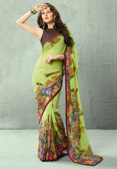 Neon Green Faux Georgette Saree with Blouse Online Shopping: SKK17900
