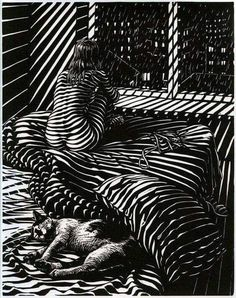 nude women and cats b&w