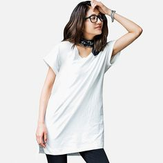 UNIQLO WOMEN V-NECK SHORT SLEEVE LONG T-SHIRT