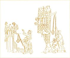 Haggadah d'Or  Londres, British Museum, Add., Ms. 27210, f° 3 r° et 11 r°. D'après G. Binding 1987, n° 252-253 ; cf. Gimpel 1976, p. 54