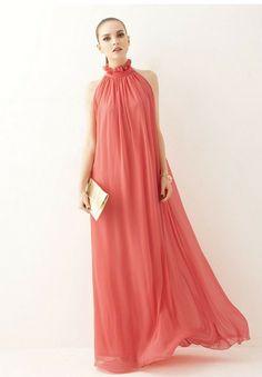 2014 Νέο άνοιξη και το καλοκαίρι χαλαρά σιφόν περιστασιακά κορίτσι maxi φόρεμα σε πράσινο / ροζ / κόκκινο / μοβ με κορδέλα Plus μέγεθος On Sale