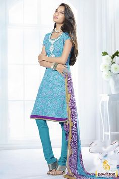 New fancy turquoise chiffon cotton festival Lisa Haydon dress online shopping at Pavitraa fashion store. This glamorous actress is looking very beautiful in this salwar kameez #salwarsuit, #casualsalwarsuit more: http://www.pavitraa.in/store/bollywood-salwar-suit/