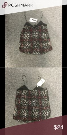 Zara sheer top - NWT Excellent condition...great top with spaghetti straps and lace trim.  Would look great with a black bandeau and black short-shorts Zara Tops Camisoles