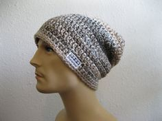 Crocheted Slouchy Beanie Hat Varigated Brown Tan Ivory Unisex BeanieHead Back to School - Ready to Ship