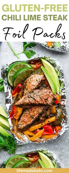 These Gluten-Free Chili Lime Steak Foil Packs are the perfect healthy easy dinner! Best part, they are keto, paleo, gluten free, and whole30 compliant. Packed with protein and flavor you can't go wrong with these delicious chili lime steak foil packs! #chililime #steakfoilpacks #healthyrecipes Easy Healthy Dinners, Easy Dinner Recipes, Healthy Dinner Recipes, Crockpot Recipes, Keto Recipes, Chicken Recipes, Chili Lime, Cooking On The Grill, Healthy Chicken