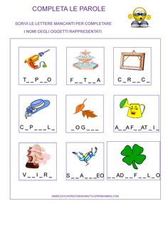 Complete with right letters Italian Language, Book Activities, School, Ale, English, Google, Kids Learning Activities, Alphabet, Learning Italian