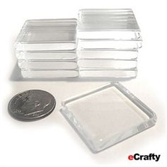 "ECRAFTY 20 crystal clear glass tile jewelry or magnet blanks. 1"" across by 5mm thick. Make your own fine art pendants, collage, altered and photo jewelry. Add your art, paint with glass markers or alcohol inks, use our downloadable art sheets, adhesives, sealers, bails, cords to finish. Click here to view larger image #ecrafty @ecrafty"