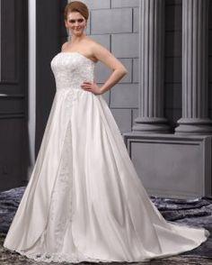 A-Line senza spalline sweep Satin Lace ricamo Bead plus size abito da sposa
