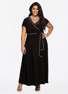 Piped Cap Sleeve Maxi Dress Piped Cap Sleeve Maxi Dress