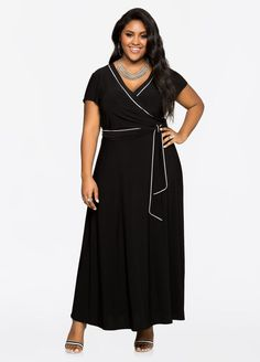 Piped Cap Sleeve Maxi Dress Piped Cap Sleeve Maxi Dress