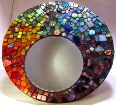 Rainbow Spectrum Mirror by Greenish Blueish Mosaic Artwork, Mirror Mosaic, Mirror Art, Mosaic Glass, Glass Art, Stained Glass, Paper Mosaic, Mosaic Diy, Mosaic Crafts