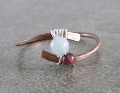 Hey, I found this really awesome Etsy listing at https://www.etsy.com/listing/238445805/garnet-amazonite-ring-hammered-copper