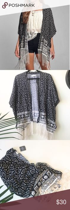Abercrombie & Fitch Abigail Kimono Beautiful in new condition black and with kimono. Abercrombie & Fitch Tops