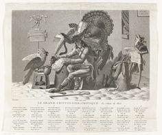 Anonymous | Spotprent op een kunstcriticus (Le Grand Chiffonnier-Critique du salon 1806), Anonymous, 1806 | Een ezel zit in een armoedig interieur met een pauwenveer te schrijven wat hem door een kalkoen en een slang ingefluisterd wordt. Een kakatoe houdt de inktpot vast. De ezel heeft een mand met allegorische voorwerpen op zijn rug. Achter hem staat een zwijn de krant te lezen. Verschillende opschriften in ongewoon gespeld frans. Onder de prent een frans gedicht in 16 coupletten