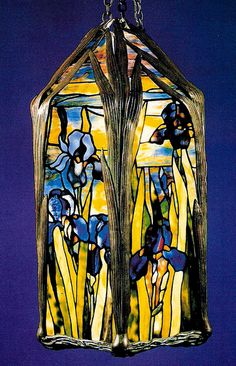 Iris Lantern Loaded Favrile glass Tiffany Studios, New York. Tiffany glass is the generic name used to describe glass produced from 1878 to 1933 at the Tiffany Studios. However, it is his head designer until 1909, Clara Driscoll, who is the person now recognized as the real creator of the finest of the leaded glass Tiffany Lamps.  Photo: J. Alistair Duncan Ltd.