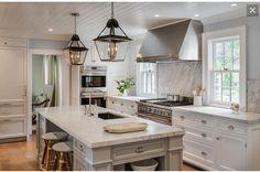 White cabinets grey granite white subway backsplash & stainless