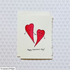 Watercolor Valentine's Day Card: Red Valentines by LeavesOfPaper
