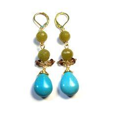 Unique Handmade Green Jade & Howlite Turquoise Gemstone Gold Tone Drop Ea