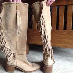 Suede fringe boots from Victoria's secret Excellent shape, worn once. Knee height. Size 7 Victoria's Secret Shoes