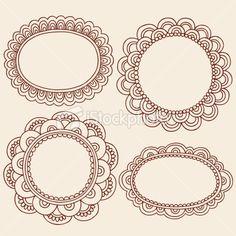 Henna Mehndi Doodle Paisley Frame Borders