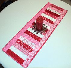 Valentines Day Table Runner Quilt Surrounded by QuiltSewPieceful