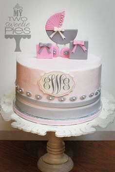 pink and grey themed baby shower