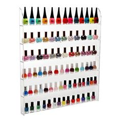 102 Bottles 6 Shelf Pro Clear Acrylic Nail Polish Rack  Salon Wall Mounted Organizer Display  MyGift ** To view further for this item, visit the image link.