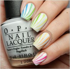 Rainbow Candy Cane Nails with BM-301 - Click image to find more Hair & Beauty Pinterest pins
