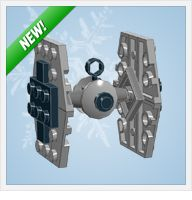 LEGO ornaments, Christmas ones, but also a TIE fighter, the Millenium Falcon, and the Death Star