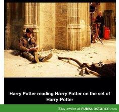Harry Potter reading Harry Potter on the set of Harry Potter