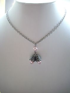 Pink Pearls with Antique Silver Bell Cap by DesignsbyPattiLynn, $40.00