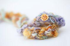Newborn tieback headband with flower - lavender, orange, pale aqua - Spring Collection. $22.00, via Etsy.