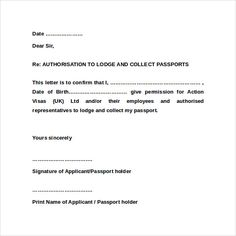Authorization Letter Lodge And Collect Passport Car Sale Format