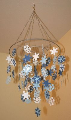2014 Disney Frozen Snowflake Chandelier by Decorations -  Winter Wonderland Blue and White Snowflake for 2014 Halloween