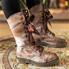 58692b9efb5 Womens Vintage Chunky Heel Lace-up Leather Daily Boots – Mollyca