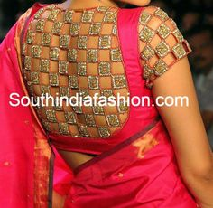 Latest model high neck cut work blouse for silk sarees. Related PostsStunning Blouse Designs for Bridal Lehengas and Half SareesSilk Saree Blouse PatternsHigh Neck Zardosi Work Bridal BlouseKundan Work Wedding Blouse