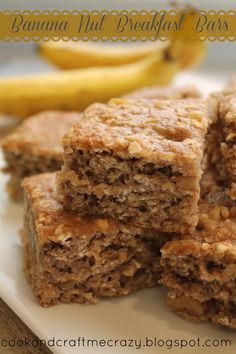 Banana nut breakfast bars. Replace eggs with more banana and apple sauce